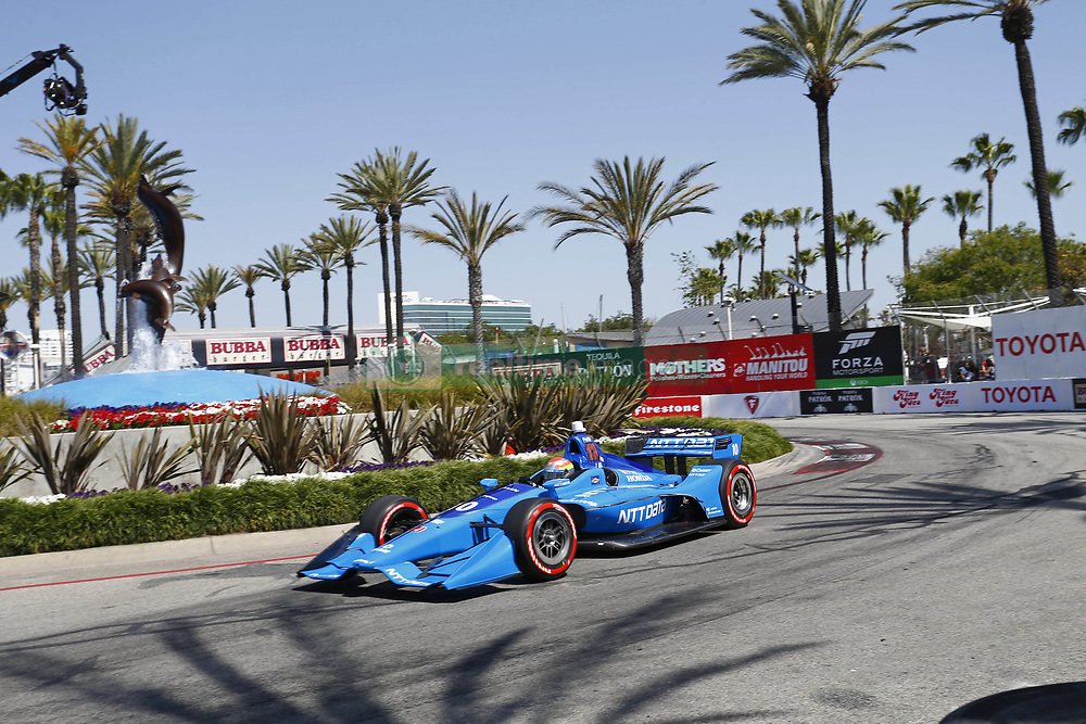 April 13, 2018 - Long Beach, California, United States of America - April 13, 2018 - Long Beach, California, USA: Ed Jones (10) takes to the track to practice for the Toyota Grand Prix of Long Beach at Streets of Long Beach in Long Beach, California. (Credit Image: © Justin R. Noe Asp Inc/ASP via ZUMA Wire)
