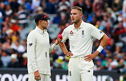 England's Joe Root and Stuart Broad in the field during day two of the Ashes Test match at the Adelaide Oval, Adelaide.