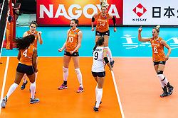 15-10-2018 JPN: World Championship Volleyball Women day 16, Nagoya<br /> Netherlands - USA 3-2 / Celeste Plak #4 of Netherlands, Yvon Belien #3 of Netherlands, Lonneke Sloetjes #10 of Netherlands, Laura Dijkema #14 of Netherlands, Maret Balkestein-Grothues #6 of Netherlands