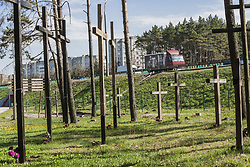 April 29, 2019 - Minsk, Minsk, Belarus - Memorial crosses in Kurapaty forest Minsk, Belarus on 29 April 2019. Thousands of people were executed by the NKVD police during the Stalin regime. (Credit Image: © Celestino Arce/NurPhoto via ZUMA Press)