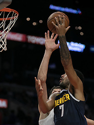 October 9, 2018 - Anaheim, California, U.S - Trey Lyles #7 of the Denver Nuggets goes for a layup during their NBA preseason game with the Los Angeles Clippers on Tuesday October 9, 2018 at the Staples Center in Los Angeles, California. Clippers defeat Nuggets, 109-103. (Credit Image: © Prensa Internacional via ZUMA Wire)