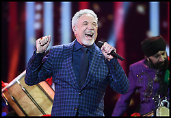 Sir Tom Jones performs at the Royal Albert Hall in London for a star-studded concert to celebrate the Queen's 92nd birthday.