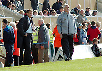Photo: Kevin Poolman.<br />Milton Keynes Dons v Tranmere Rovers. Coca Cola League 1. 29/04/2006. MK Manager Danny Wilson and Tranmere Manager Brian Little look on.