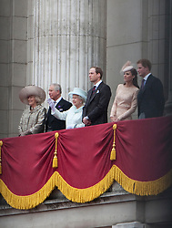 © Licensed to London News Pictures. 04/06/2012. London, UK. .Members of the Royal Family on the Balcony of Buckingham Palace on Final Day of the Queens Diamond Jubilee..The Royal Jubilee celebrations. Great Britain is celebrating the 60th  anniversary of the countries Monarch HRH Queen Elizabeth II accession to the throne this weekend. Photo credit : Rich Bowen/LNP