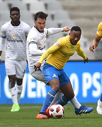 Cape Town-180825- Cape Town City player Roland Putsche challenges  Mamelodi Sundowns Lebohang Maboe in the MTN 8 semi-final at Cape Town Stadum.Photographer :Phando Jikelo/African News Agency/ANA