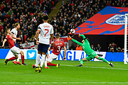 Goal - Raheem Sterling of England scores a goal to give a 3-0 lead to the home team during the UEFA European 2020 Qualifier match between England and Czech Republic at Wembley Stadium, London, England on 22 March 2019.