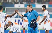 RAIPUR (India) - De Nederlander Roger van Gent , assistent coach  van India  voor de wedstrijd tussen India en Argentinië bij de Hockey World League Finale toernooi .  ANP  KOEN SUYK