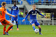 Cardiff City's Stuart O'Keefe plays the ball forward. Skybet football league championship match, Cardiff city v Ipswich Town at the Cardiff city stadium in Cardiff, South Wales on Saturday 12th March 2016.<br /> pic by Carl Robertson, Andrew Orchard sports photography.