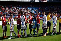 Atletico de Madrid´s players and Deportivo de la Coruña´s players during 2014-15 La Liga match between Atletico de Madrid and Deportivo de la Coruña at Vicente Calderon stadium in Madrid, Spain. November 30, 2014. (ALTERPHOTOS/Victor Blanco)