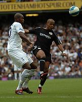Photo: Tony Oudot.<br /> Tottenham Hotspur v Derby County. The FA Barclays Premiership. 18/08/2007.<br /> Robert Earnshaw of Derby County beats Anthony Gardner of Tottenham to the ball