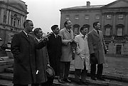 20/04/1963<br /> 04/20/1963<br /> 20 April 1963<br /> Ulster Young Unionists Council at Dail Eireann. A joint meeting of the Ulster Young Unionist group and the City Group of Fine Gael took place in Dublin on Friday april 20th. Following a press conference on Saturday the Young Unionist Group visited Dail Eireann. Picture shows some of the Ulster Young Unionists leaving Dail Eireann : John Hegarty, (left) (vice-chairman, Fine Gael City Group) and James T. Deegan (third from right) Chairman of the Fine Gael City Group with John D. Taylor (third from left) Chairman, Denis Wogan; William Nelson and Ian Hutchinson of the Young Unionists.