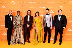 (left to right) Keegan-Michael Key, Florence Kasumba, Seth Rogen, Beyonce, Billy Eichner and Jon Favreau attending Disney's The Lion King European Premiere held in Leicester Square, London.