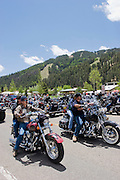 Vertical of bikers in Red River, New Mexico