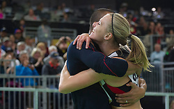 United States' Ashton Eaton (L) hugs his wife, Canada's Brianne Theisen Eaton after she won the women's 800-meter sprint of the pentathlon and the overall pentathlon event during day two of the IAAF World Indoor Championships at Oregon Convention Center in Portland, Oregon, the United States, on March 18, 2016. EXPA Pictures © 2016, PhotoCredit: EXPA/ Photoshot/ Yang Lei C<br /> <br /> *****ATTENTION - for AUT, SLO, CRO, SRB, BIH, MAZ, SUI only*****