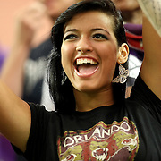A female Orlando City soccer fan cheers during a United Soccer League Pro soccer match between the Wilmington Hammerheads and the Orlando City Lions at the Florida Citrus Bowl on June 18, 2011 in Orlando, Florida.  (AP Photo/Alex Menendez)