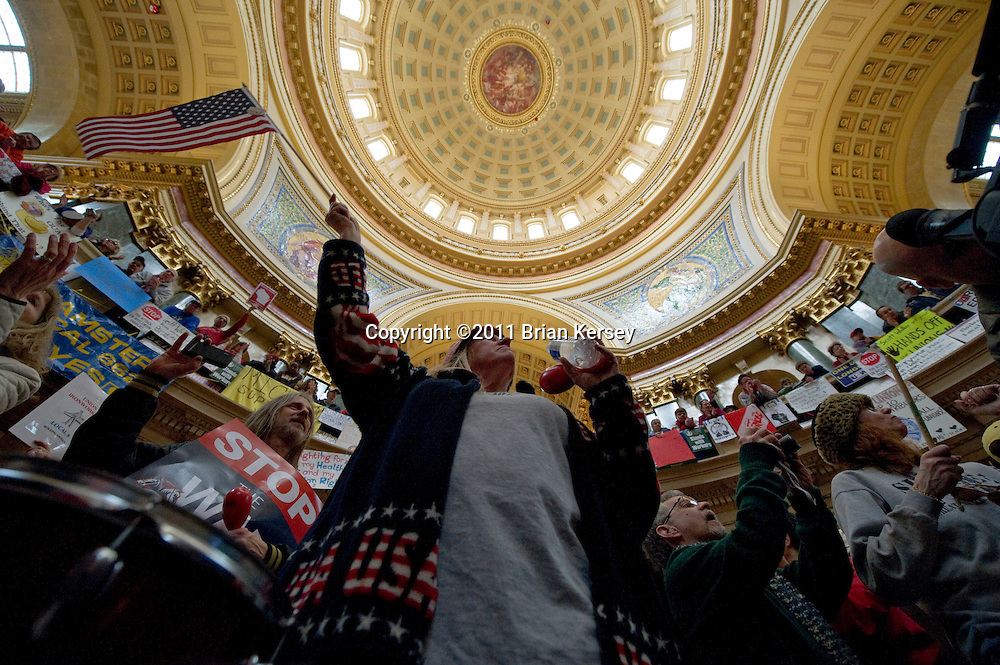Protestors occupy the state Capitol in Madison, Wisconsin on February 25, 2011. Protests over budget legislation continued at the state Capitol for the 11th day.      (Photo by Brian Kersey)