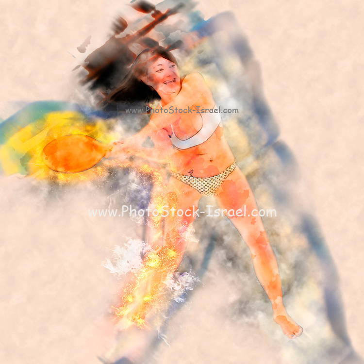 Young woman in a bikini plays racquetball digitally enhanced