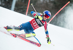 "Mikaela Shiffrin (USA) competes during 1st Run of FIS Alpine Ski World Cup 2017/18 Ladies' Slalom race named ""Snow Queen Trophy 2018"", on January 3, 2018 in Course Crveni Spust at Sljeme hill, Zagreb, Croatia. Photo by Vid Ponikvar / Sportida"