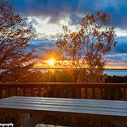 Late Fall Sunset Over Lake Michigan And Leelanau Penninsula