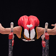 Maxime Gentges of Belgium performs on the Parallel Bars at the 46th FIG Artistic Gymnastics World Championships in Glasgow, Britain, 25 October 2015.