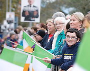 Crowds at a celebration as President Elect Michael D Higgins arrived back to Hotel Meyrick in Galway to a huge welcome. Photo:Andrew Downes