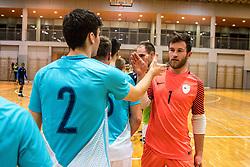 Koren Zan of Slovenia hand shakes logger Nik of Sloveniaduring friendly futsal match between National teams of Slovenia and France on February 6, 2019 in Bonifika, Koper / Capodistra, Slovenia. Photo by Matic Ritonja / Sportida