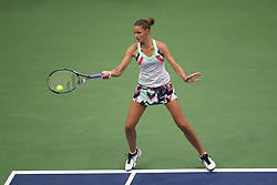 September 5, 2017 - New York City, New York, United States - Karolina Pliskova of Czech Republic competes against CoCo Vandeweghe (not seen) of the United States during Women's Singles Quarter Finals tennis match within the 2017 US Open Tennis Championships at the Arthur Ashe Stadium in New York, United States on September 6, 2017. (Credit Image: © Foto Olimpik/NurPhoto via ZUMA Press)