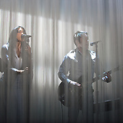 SILVER SPRING, MD - April 30th  2013 -  How To Destroy Angels, the new band from Trent Reznor (center) featuring his wife Mariqueen Maandig (left), performs at the Fillmore Silver Spring in Silver Spring, MD. The band brought a stadium-sized light show to the club, performing behind a complex system of fiber optic cables that changed color and shape.  (Photo by Kyle Gustafson/For The Washington Post)