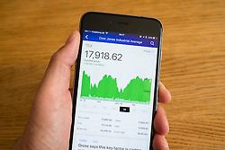 Detail of stock market performance of Dow Jones  stock exchange  on a smart phone