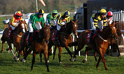 Noel Fehily rides Get In The Queue (centre), his last ride before retiring, in The Goffs UK Spring Sale Bumper Race run during Be Wiser Jumps Season Finale Saturday at Newbury Racecourse, Newbury.