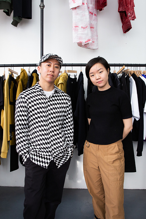 Fashion designers Haoran Li and Siying Qu of Private Policy, photographed in their New York City studio, 2020.