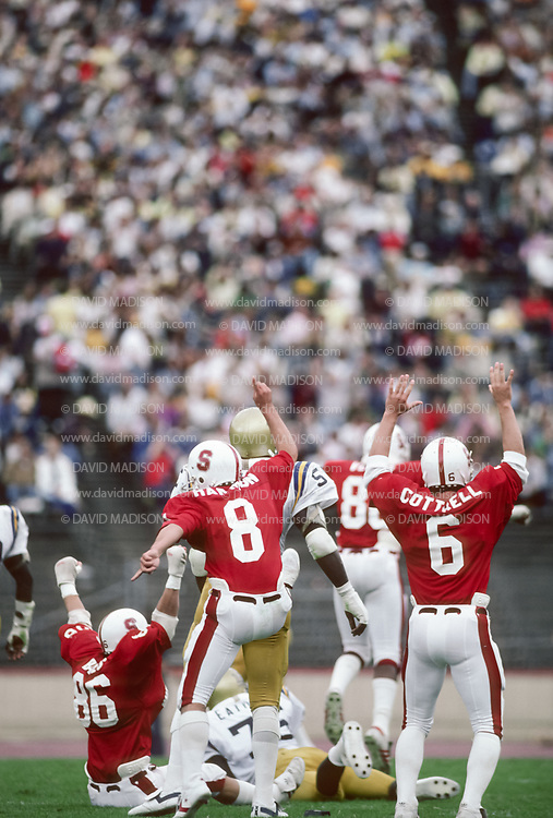 COLLEGE FOOTBALL:  Stanford vs UCLA on October 10, 1981 at Stanford Stadium in Palo Alto, California.  Mark Harmon #8, Steve Cottrell #6.  Photograph by David Madison ( www.davidmadison.com ).