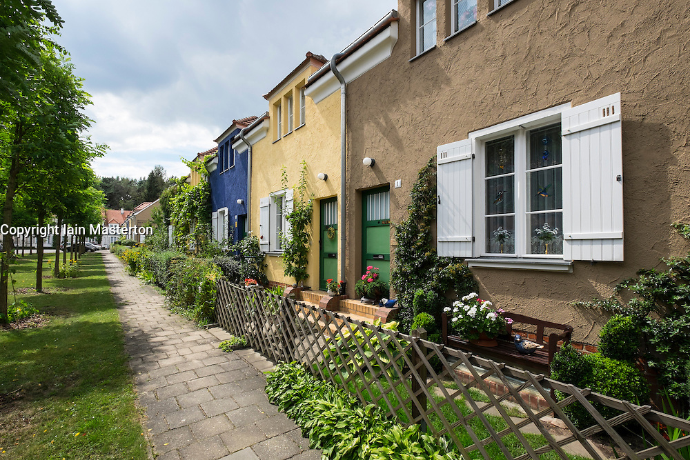 Akazienhof in Gartenstadt , (Garden city), housing estate a UNESCO world Heritage site at Falkenberg in Berlin Germany
