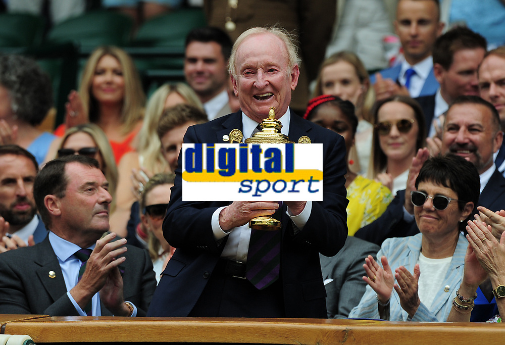 Tennis - 2019 Wimbledon Championships - Week One, Saturday (Day Six)<br /> <br /> Mens Singles, 3rd Round <br /> Sports Men and Women in the Royal Box on Centre Court<br /> <br /> Rod Laver (AUS) receives a replica of the Mens Singles trophy in the Royal box from Chairman, Philip Brook <br /> It is 50 years on since Rod Laver won the calendar Grand Slam<br /> <br /> COLORSPORT/ANDREW COWIE