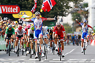 Arrival, Arnaud Demare (FRA - Groupama - FDJ) winner, Christophe Laporte (FRA - Cofidis), Alexander Kristoff (NOR - UAE Team Emirates) during the 105th Tour de France 2018, Stage 18, Trie sur Baise - Pau (172 km) on July 26th, 2018 - Photo Luca Bettini / BettiniPhoto / ProSportsImages / DPPI