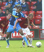 Photo: Dave Linney.<br />Walsall v Wycombe Wanderers. Coca Cola League 2. 14/10/2006Walsall's .Dean Keates(R) battles with   Kevin Betsy for th ball.