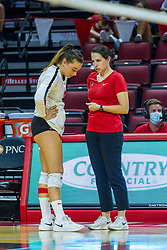 BLOOMINGTON, IL - August 13: Nora Janka  and Leah Johnson during a college Women's volleyball Scrimmage of the Illinois State Redbirds on  August 13 2021 at Illinois State University in Normal, IL. (Photo by Alan Look)