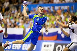 Grega Ocvirk of Slovenia during handball match between National teams of Portugal and Slovenia in Semifinal of 2018 EHF U20 Men's European Championship, on July 27, 2018 in Arena Zlatorog, Celje, Slovenia. Photo by Urban Urbanc / Sportida