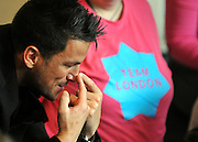 © Licensed to London News Pictures. 06/12/2011, London, UK. PETER ANDRE points at his nose during games with the children at the library. BORIS JOHNSON and PETER ANDRE launch  the Love Libraries scheme at Shepherds Bush Library, London, Today 6th December. Love Libraries is a new scheme to encourage Londoners to read and participate in activities at their local libraries. Photo credit : Stephen Simpson/LNP