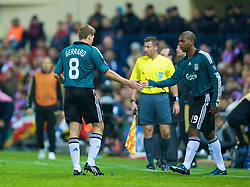 MADRID, SPAIN - Wednesday, October 22, 2008: Liverpool's captain Steven Gerrard MBE is substituted by Ryan Babel during the UEFA Champions League Group D match against Club Atletico de Madrid at the Vicente Calderon. (Photo by David Rawcliffe/Propaganda)