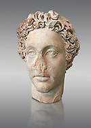 Roman Portrait bust of Roman Emperor Commodus, circa 180 AD excavated from the ancient market, Rome. Roman Emperor from 180 to 192 AD. Commodus also ruled as co-emperor with his father Marcus Aurelius from 177 until his father's death in 180 AD.. The National Roman Museum, Rome, Italy .<br /> <br /> If you prefer to buy from our ALAMY PHOTO LIBRARY  Collection visit : https://www.alamy.com/portfolio/paul-williams-funkystock/roman-museum-rome-sculpture.html<br /> <br /> Visit our ROMAN ART & HISTORIC SITES PHOTO COLLECTIONS for more photos to download or buy as wall art prints https://funkystock.photoshelter.com/gallery-collection/The-Romans-Art-Artefacts-Antiquities-Historic-Sites-Pictures-Images/C0000r2uLJJo9_s0