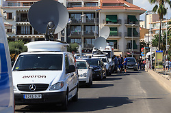 (170818) -- CAMBRILS (SPAIN), Aug. 18, 2017 (Xinhua) -- Television vans are seen near the beach in Cambrils, Spain, on Aug. 18, 2017. At least 14 died in Thursday's double terror attacks in Spain, as Spanish people demonstrated defiance and condolences by leaders of the world poured in on Friday. (Xinhua/Xu Jinquan)  (Photo by Xinhua/Sipa USA)