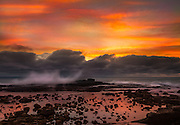Sunset Stormy Clouds Over White Point Royal Palms County Beach of San Pedro California