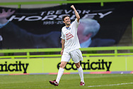 Trevor Horsley XI Andy Mangan scores a goal 2-2 and celebrates during the Trevor Horsley Memorial Match held at the New Lawn, Forest Green, United Kingdom on 19 May 2019.