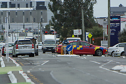 March 15, 2019 - Christchurch, Canterbury, New Zealand - Police at Antigua Avenue after a shooting incident resulting multiple fatalities and injuries at the Masjid Al Noor Mosque in Deans Avenue, Christchurch, New Zealand. At least 49 people were killed and 20 seriously injured in mass shootings at two mosques in the New Zealand city of Christchurch. 48 people, including young children with gunshot wounds, were taken to hospital. Three people were arrested in connection with the shootings. (Credit Image: © David Alexander/SNPA via ZUMA Wire)