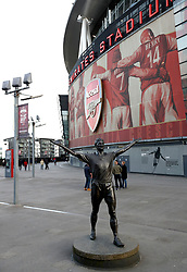 A general view of a statue of former player Tony Adams outside the Emirates Stadium