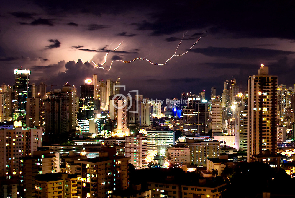 Lightning storm over Panama City, Republic of Panama.