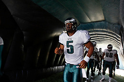 Philadelphia Eagles quarterback Donovan McNabb #5 prepares to enter the field before the NFL game between the Tampa Bay Buccaneers and the Philadelphia Eagles on October 11th 2009. The Eagles won 33-14 at Lincoln Financial Field in Philadelphia, Pennsylvania. (Photo By Brian Garfinkel)
