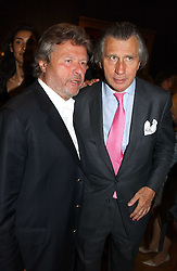 Left to right, ALAIN-DOMINIQUE PERRIN and ARNAUD BAMBERGER at '4 Inches' a project 'For Women about Women By Women' - A photographic Auction in aid of the Elton John Aids Foundation hosted by Tamara Mellon President of Jimmy Choo and Arnaud Bamberger MD of Cartier UK at Christie's, 8 King Street, London W1 on 25th May 2005.<br />