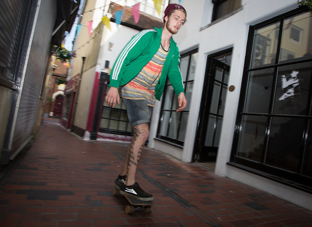 This capable skateboarder told me that he prefers navigating the streets over a skatepark. The narrow alleyway of the South Lanes seemed to provide the perfect course for his requirements.